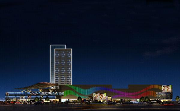 【江苏】华海商贸广场led线条灯亮化