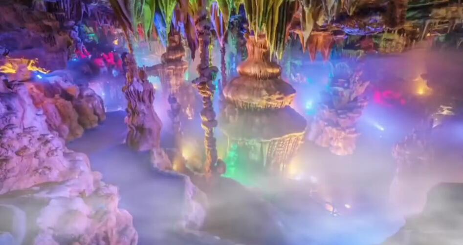 景区溶洞亮化,光臣照明LED七彩投射灯打造多彩溶洞灯光