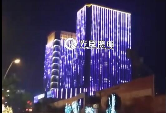 光臣照明LED全彩线条灯双子楼全动画屏效果亮化